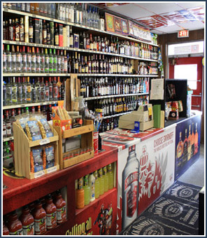 Picture of Regent Street Liquor counter area inside the store.                   Regent Street Liquor features the best beer keg prices in Madison Wisconsin and an excellent selection of wines and micro brew beers.