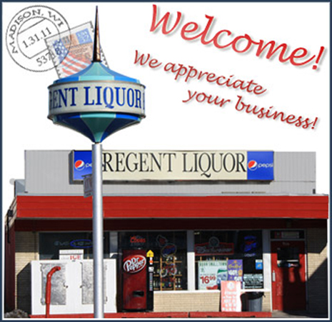 Your favorite Madison liquor store,                  located near the campus of the University of Wisconsin at Madison, between the Kohl Center and Camp Randall Stadium on Regent Street.                   We appreciate your business!